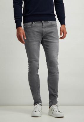 Stretch-Jeans-aus-grauem-Denim---silbergrau-uni