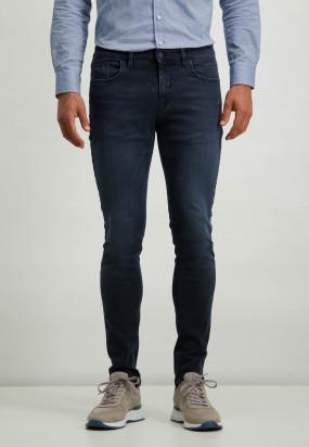 Stretch-Jeans-aus-blau-schwarzem-Denim---dunkelblau-uni