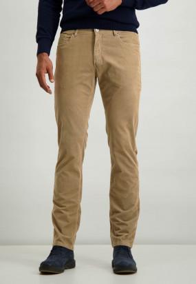 Stretch-Hose-aus-Baumwolle-mit-normaler-Passform---sepia-uni