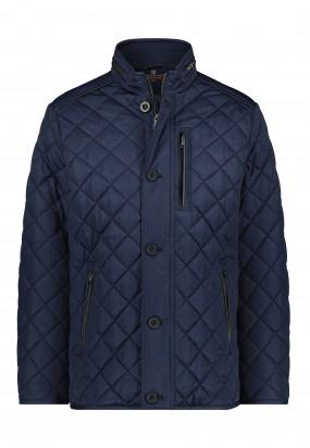 Doorgestikte-halflange-jas---donkerblauw-uni