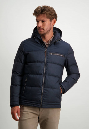 Halflange-jas-met-afneembare-capuchon---donkerblauw-uni