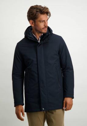 Long-jacket-with-detachable-hood---dark-blue-plain