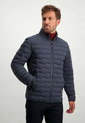 Korte-jas-met-nylon-details---donkerblauw-uni