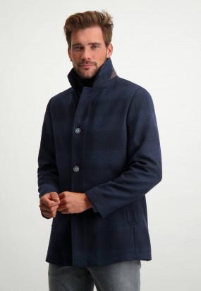 Manteau-à-carreaux-avec-coupe-moderne-et-insert---blue-foncé-uni