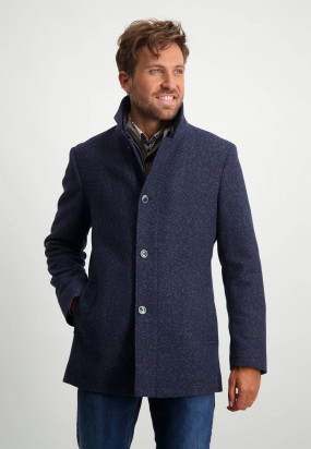 Mid-length-jacket-with-insert-and-side-pockets---dark-blue-plain