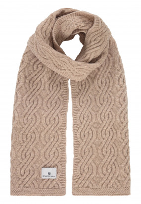 Lambswool-blend-cable-knit-scarf---cream-plain