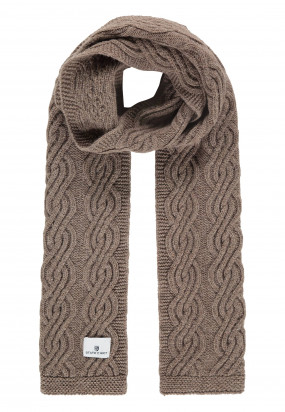 Lambswool-blend-cable-knit-scarf---sepia-plain