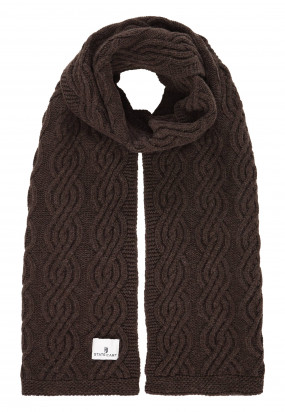 Lambswool-blend-cable-knit-scarf---dark-brown-plain