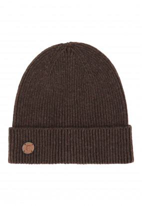 Lambswool-blend-hat---dark-brown-plain