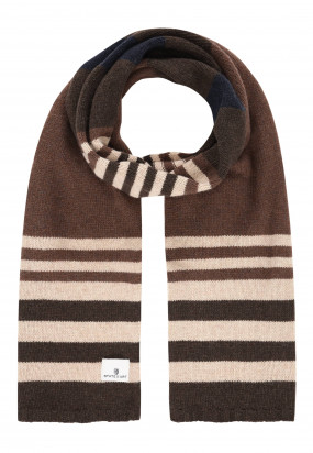 Lambswool-striped-scarf---cognac/dark-brown