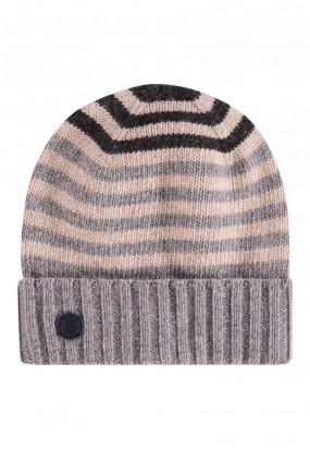 Striped-lambswool-hat---dark-brown/cream