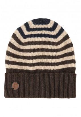 Striped-lambswool-hat---silvergrey/cream