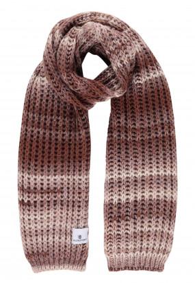 Striped-acrylic-blend-scarf---brick/sepia