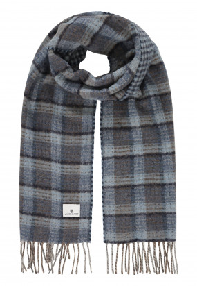 Scarf-with-checked-pattern-and-logo-patch---mid-blue/midnight