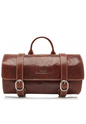 Toilet-Bag-of-Buffalo-Leather---dark-brown-plain