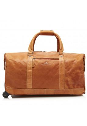 Travel-Bag-made-of-buffalo-leather---cognac-plain