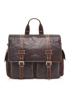Messenger-Bag-of-Buffalo-Leather---dark-brown-plain