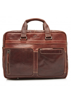 Messenger-bag-made-of-leather---dark-brown-plain