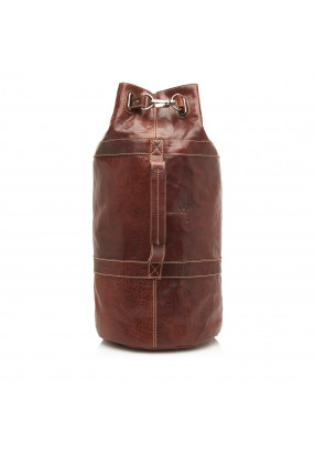 Back-pack-made-of-buffalo-leather---dark-brown-plain