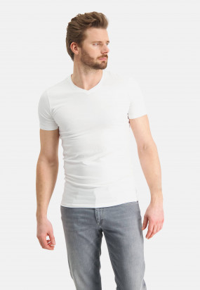 V-hals-T-shirt-uni---wit-uni