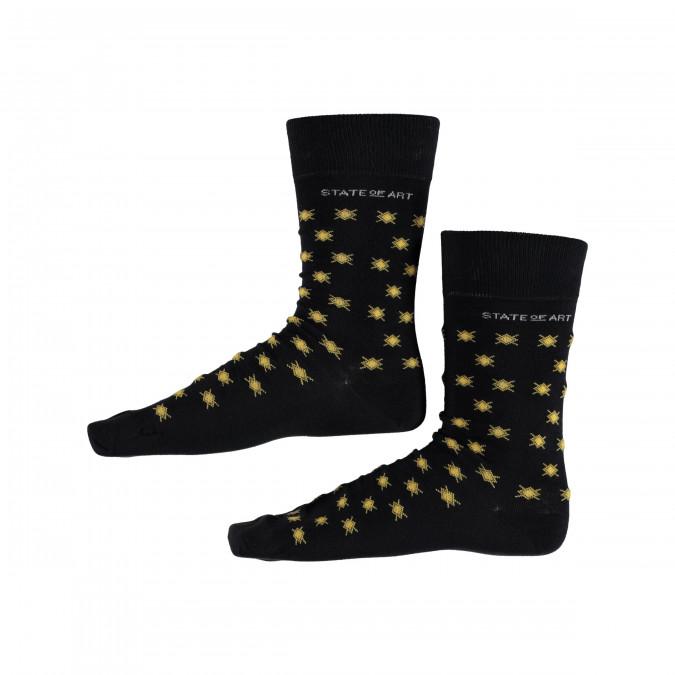 Socks-Print---midnight/goldyellow