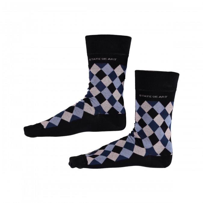 Socken,-kariert---dunkelblau/wasserblau
