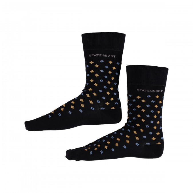 Socks-Print-with-Elastane---midnight/goldyellow