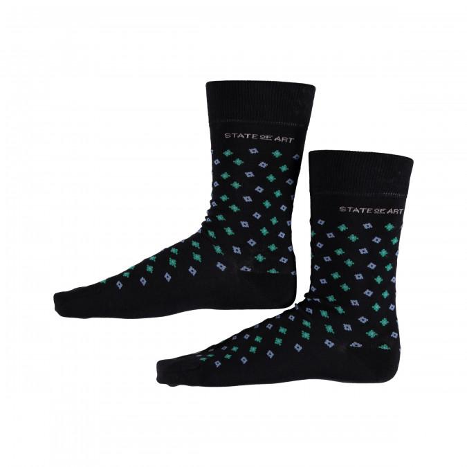 Bedrukte-sokken-met-elastan---donkerblauw/donker-lime