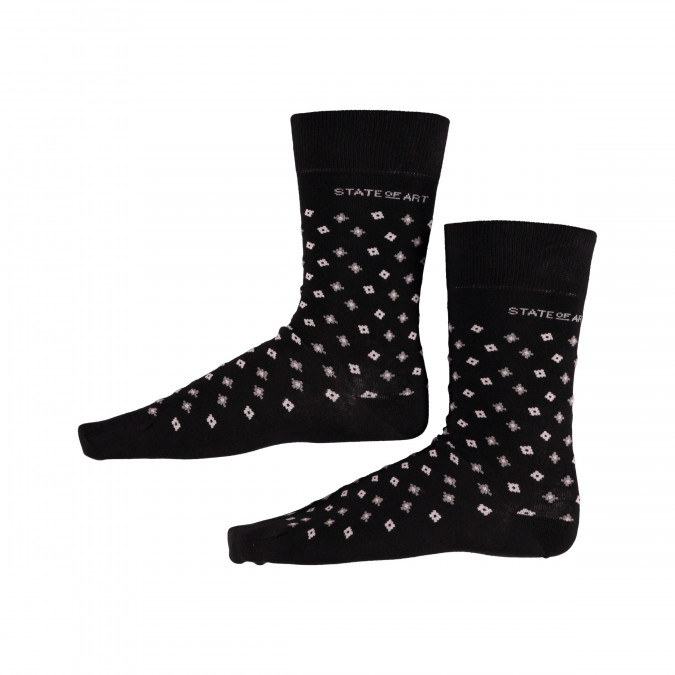 Socks-Print-with-Elastane---black/silver-grey