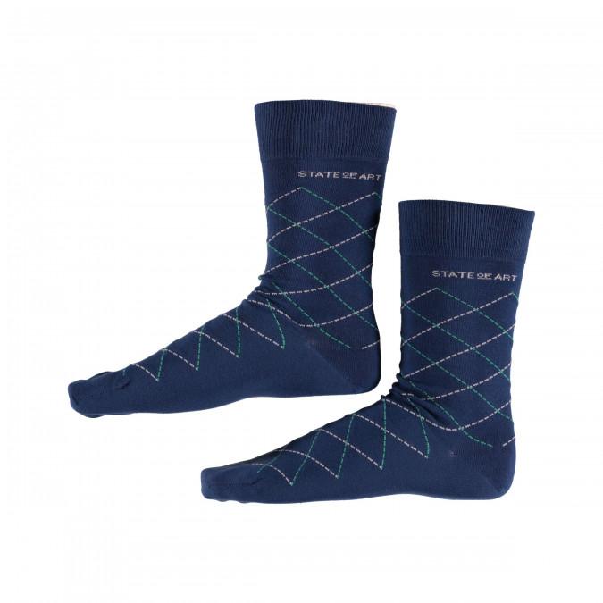 Socks-Checked---cobalt/dark-lime