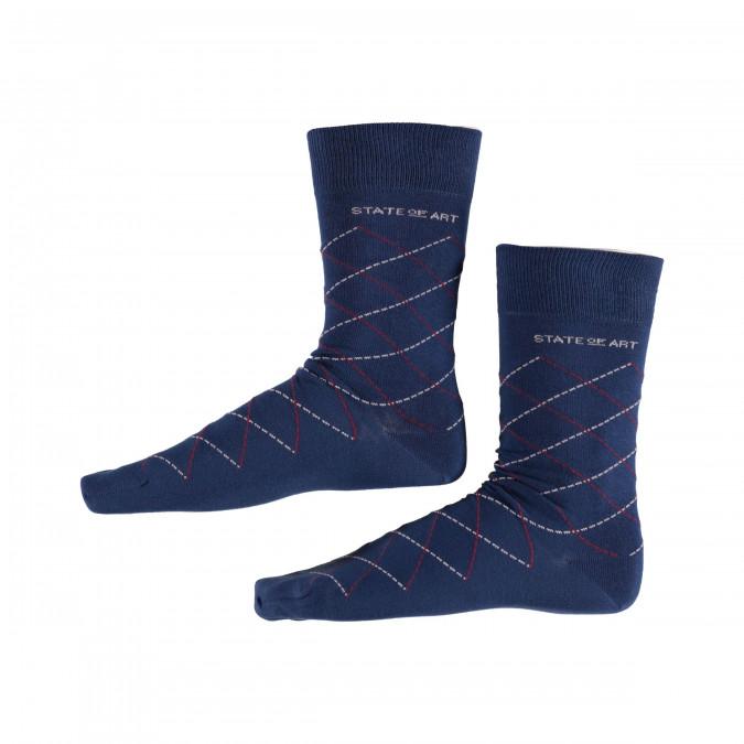 Socks-Checked---cobalt/red