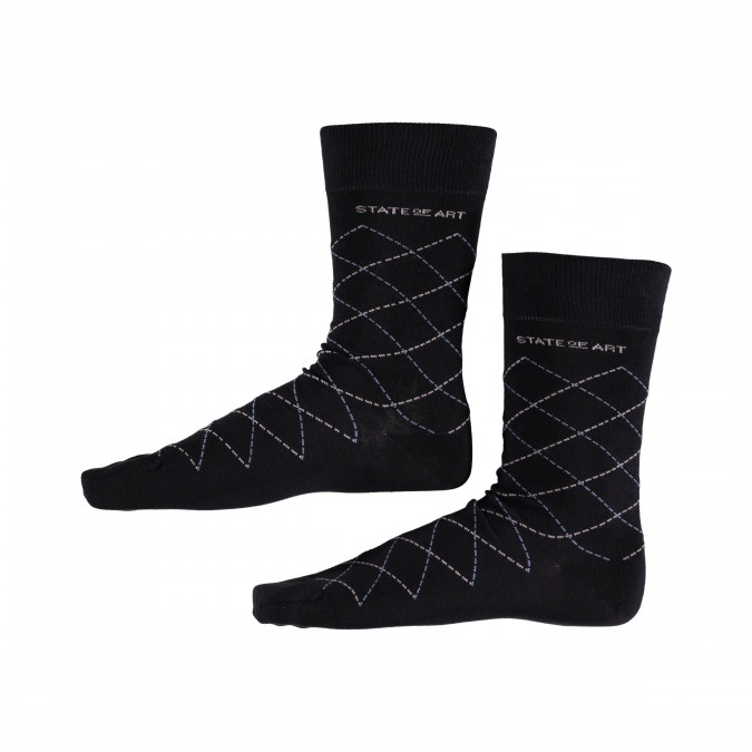 Socks-Checked---midnight/ice-blue