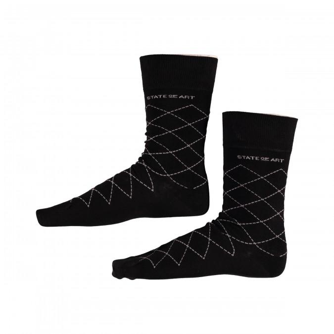 Socks-Checked---black/silver-grey