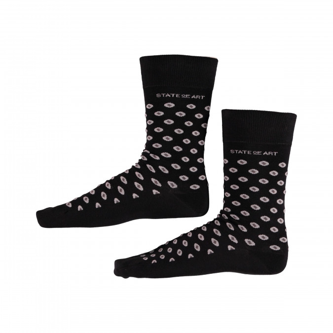 Socks-with-Print-and-Stretch---black/silver-grey