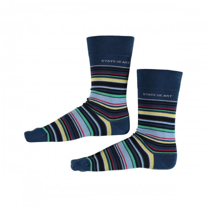 Socks-Striped---cobalt/dark-lime