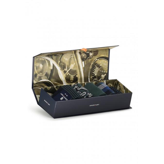 Gift-box-with-5-pairs-of-socks---dark-green-plain