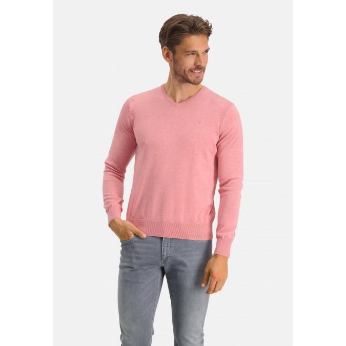 V-hals-trui-van-biologisch-katoen---roze-uni