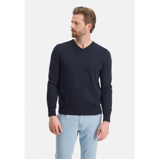 V-neck-jumper-with-a-regular-fit---dark-blue-plain
