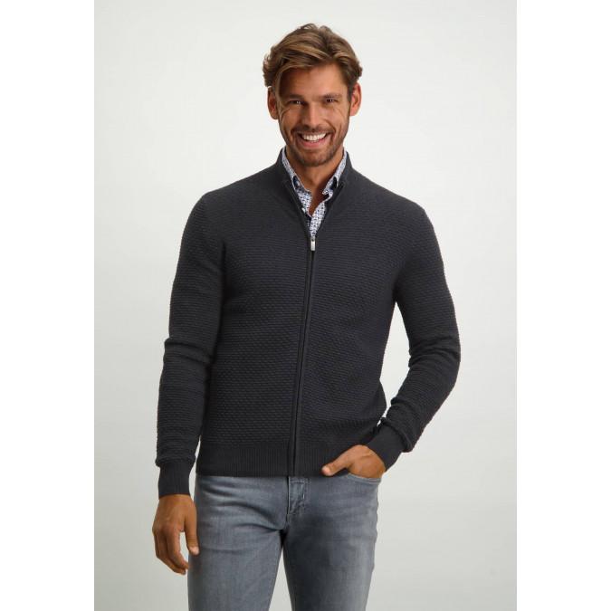 Regular-fit-cardigan-with-high-collar---dark-anthracite-plain