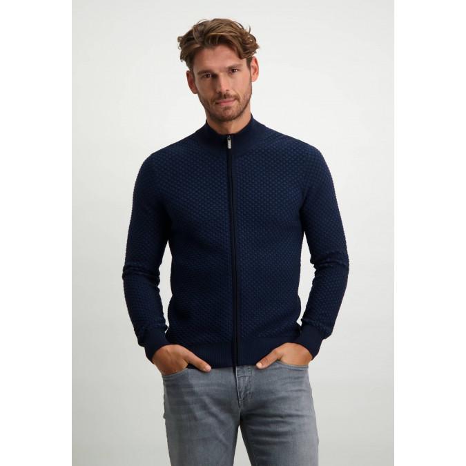Cardigan-with-zip-in-100%-cotton---cobalt/midnight