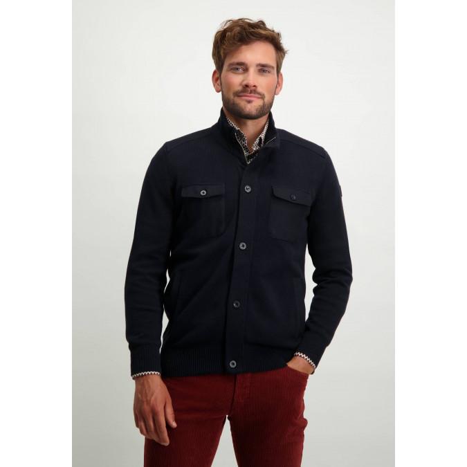 Cardigan-with-flap-pockets---dark-blue-plain
