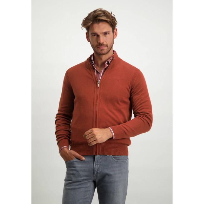 Organic-cotton-cardigan-with-zip---brick-plain