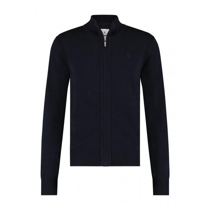 Organic-cotton-cardigan-with-zip---dark-blue-plain