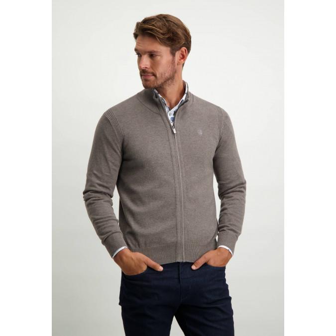 Organic-cotton-cardigan-with-zip---sepia-plain