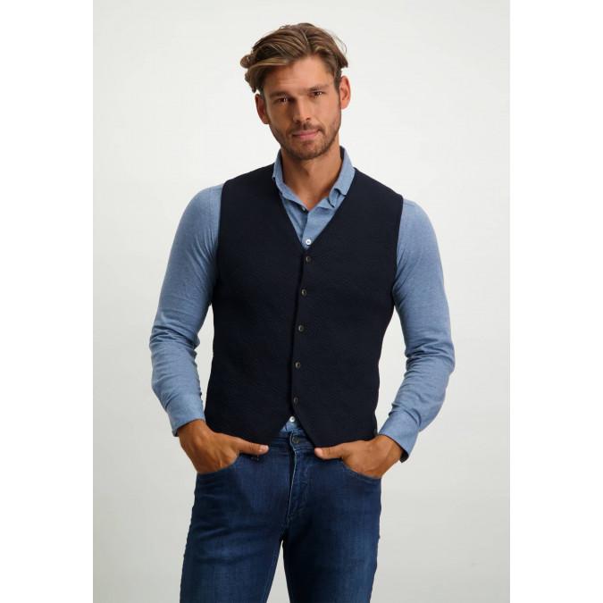 Knit-waistcoat-with-button-closure---dark-blue-plain