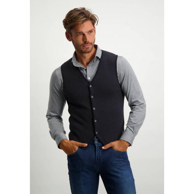 Solid-knit-waistcoat---midnight/charcoal