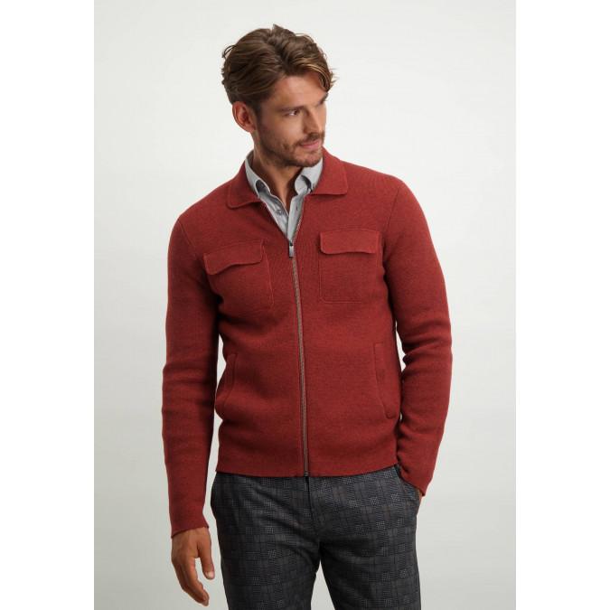 Lambswool-blend-cardigan---brick-plain