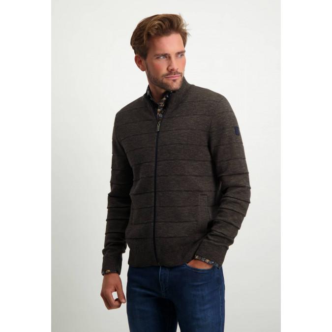 Cotton-cardigan-with-side-pockets---dark-blue/dark-brown