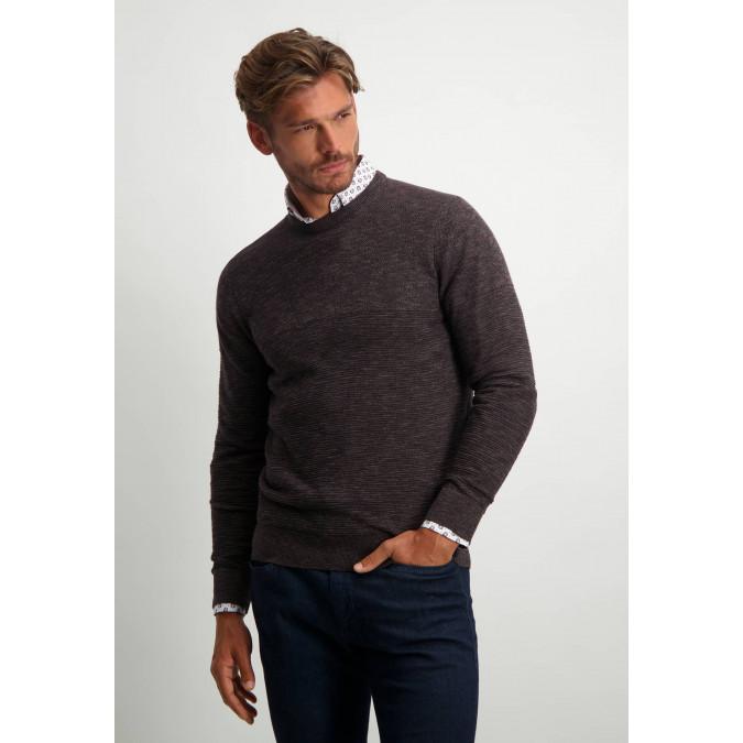 Katoenen-trui-met-een-structuur-mix-patroon---donkerblauw/donkerbruin