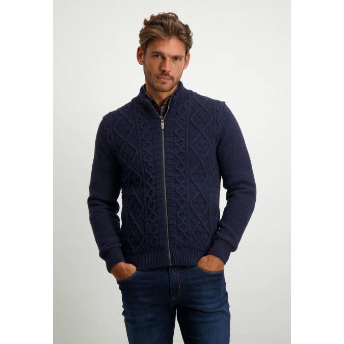 Lambswool-blend-cable-knit-cardigan---dark-blue/medium-grey